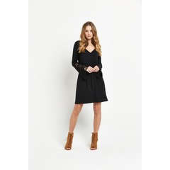 V by Very Crochet Sleeve Wrap Front Dress