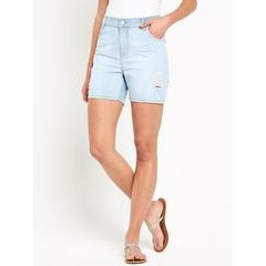 South Longer Length Ripped Denim Shorts