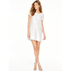 French Connection Snow Sequins Round Neck Tunic Dress
