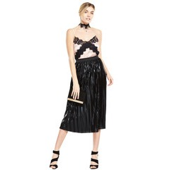 V By Very Wet Look Pleated Skirt
