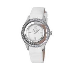 Kenneth Cole Stone Encrusted Bezel White Leather Strap Ladies Watch - KC2881