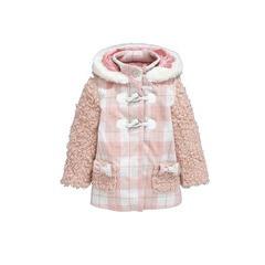 Ladybird Toddler Girls Check & Teddy Fur Trim Coat