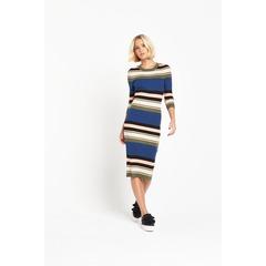 Lost Ink Striped Knit Dress In Rib