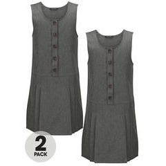 Top Class Girls Pack of Two Woven Button School Uniform Pinafore