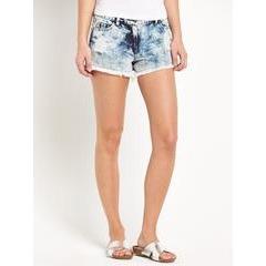 Love Label Bleach Wash Cheeky Ripped Shorts