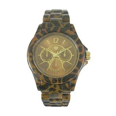 Love Label Leopard Print Boyfriend Watch