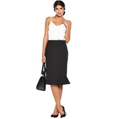 Oasis Fluted Hem Spot Pencil Skirt