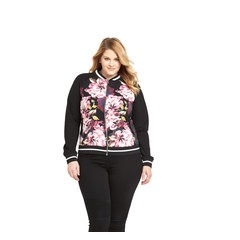 V By Very Curve Rib Trim Printed Bomber