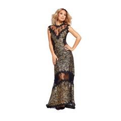 Myleene Klass Gold Metallic Lace Maxi Dress