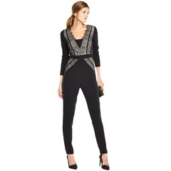 V By Very Slim Leg Lace Contrast Jumpsuit