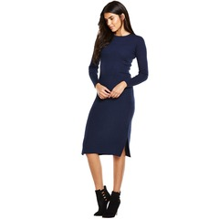 V By Very Ribbed Zip Back Midi Bodycon Knit Dress