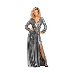 Myleene Klass Deep V Front Metallic Maxi Dress