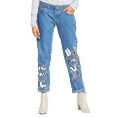 Lost Ink Gem Embellished Boyfriend Jeans