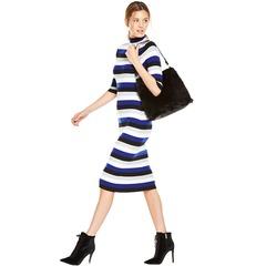 V By Very Stripe Turtleneck Midi Dress
