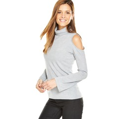 V By Very Roll Neck Bell Sleeve Fisherman Rib Cold Shoulder Jumper