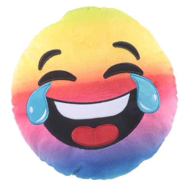 plush rainbow laughing emoji cushion