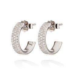 Folli Follie Sterling Silver Cubic Zirconia Mini Hoop Earrings