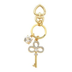 Juicy Couture Gold Tone Crystal Set Key Fob