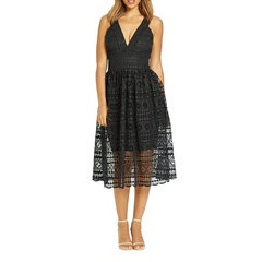 Very Deep V Lace Midi Dress